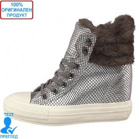 Converse All Star Platform - дамски обувки на платформа - сив металик