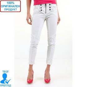 525 by Einstein - дамски панталон - бяло - декорат. копчета