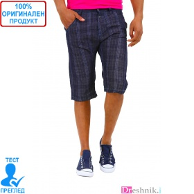 525 by Einstein - мъжки къси панталони - синьо каре
