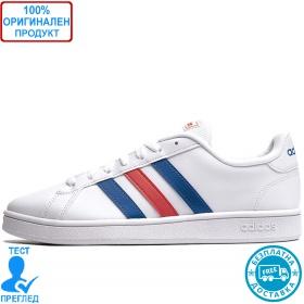 Adidas Grand Court Base - спортни обувки - бяло - синьо - червено