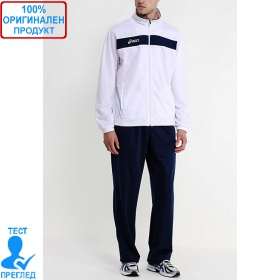 Asics - мъжки спортен комплект от две части - бяло/тъмно синьо