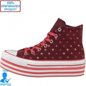 Converse All Star - кецове на платформа - червено