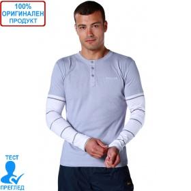 Reebok - мъжка блуза с дълъг ръкав - сиво