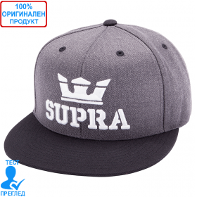 Supra - шапка с козирка - сиво - бяло