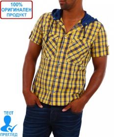 Yaz Gato by Einstein - мъжка риза с качулка - синьо жълто