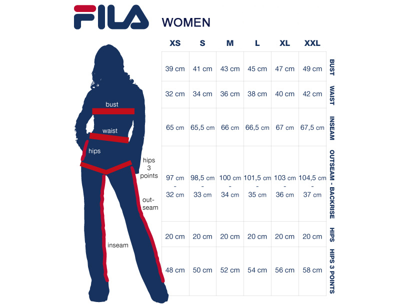 Fila Shoe Women Chart