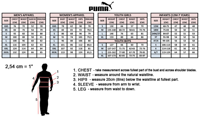Puma Size Guide Infant Shoes