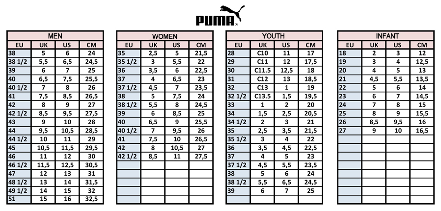 Puma size chart sale,up to 73% discounts.