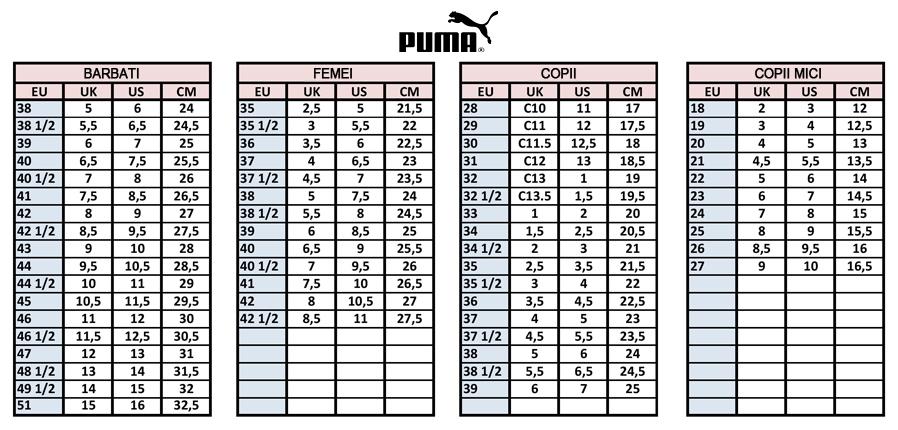cost scăzut multiple culori imagini noi din Puma tabel de marimi (Dreshnik.ro)