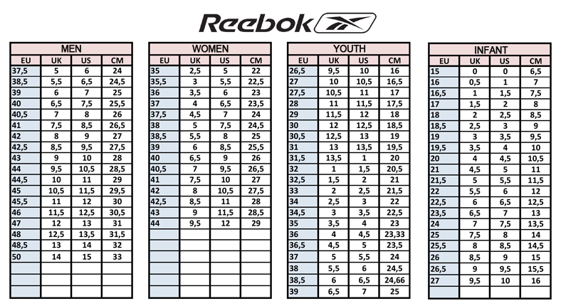 Size Casual Shoes Chart Training Running Kids Reebok 5x1Yx